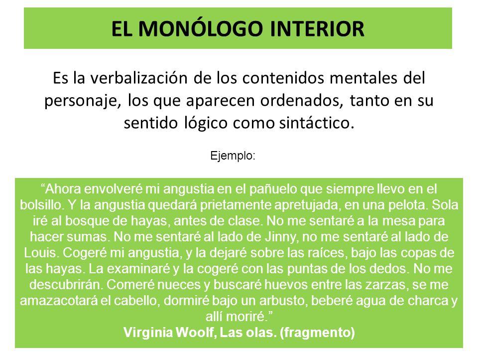 EL MONÓLOGO INTERIOR Es la verbalización de los contenidos mentales del personaje, los que aparecen ordenados, tanto en su sentido lógico como sintáct
