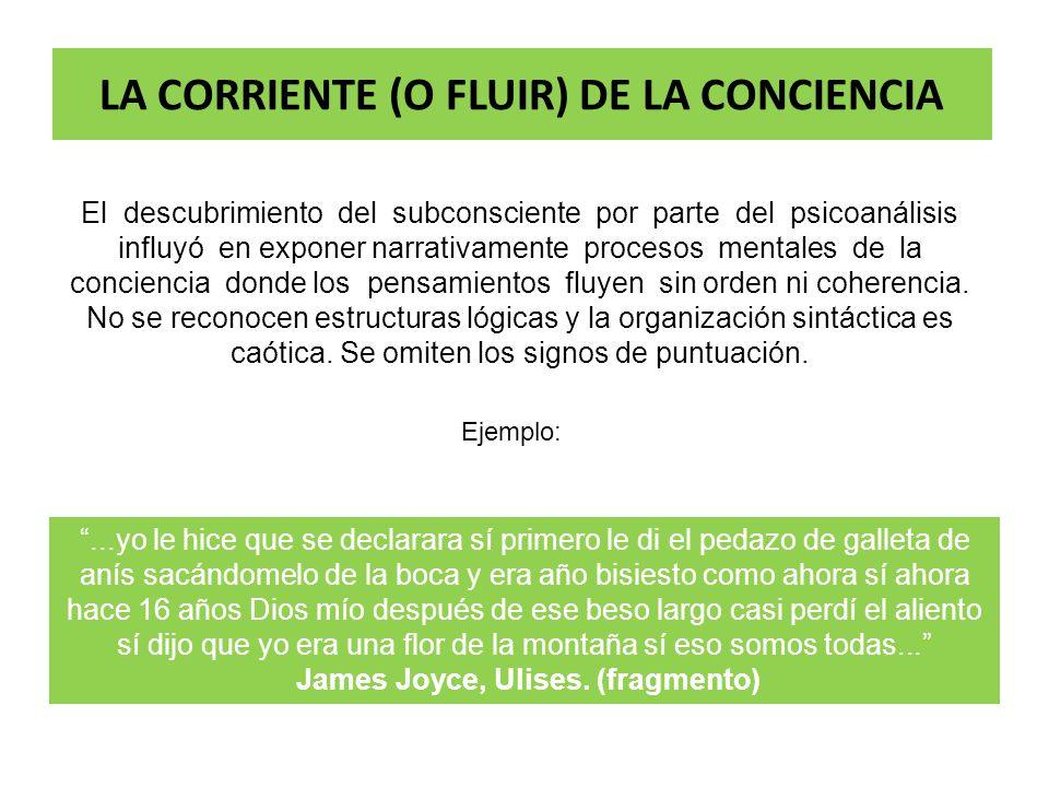 LA CORRIENTE (O FLUIR) DE LA CONCIENCIA El descubrimiento del subconsciente por parte del psicoanálisis influyó en exponer narrativamente procesos men
