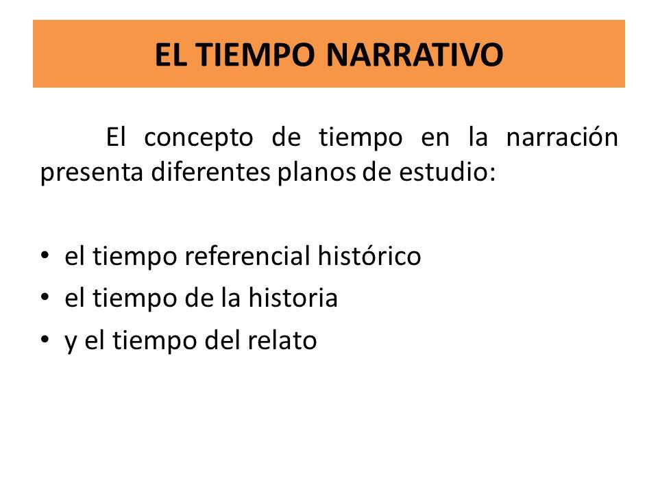 EL TIEMPO NARRATIVO El concepto de tiempo en la narración presenta diferentes planos de estudio: el tiempo referencial histórico el tiempo de la histo