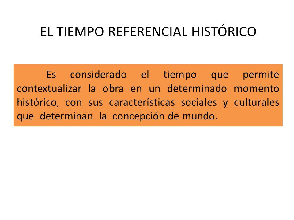 EL TIEMPO REFERENCIAL HISTÓRICO Es considerado el tiempo que permite contextualizar la obra en un determinado momento histórico, con sus característic