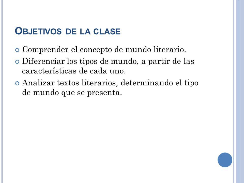 O BJETIVOS DE LA CLASE Comprender el concepto de mundo literario. Diferenciar los tipos de mundo, a partir de las características de cada uno. Analiza
