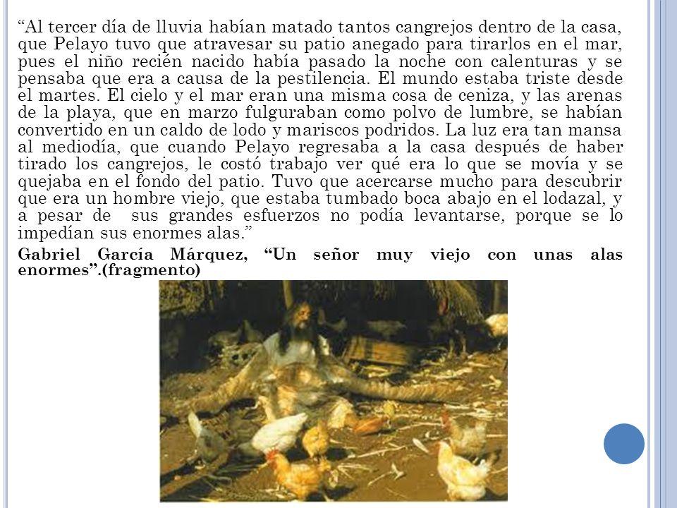 Al tercer día de lluvia habían matado tantos cangrejos dentro de la casa, que Pelayo tuvo que atravesar su patio anegado para tirarlos en el mar, pues