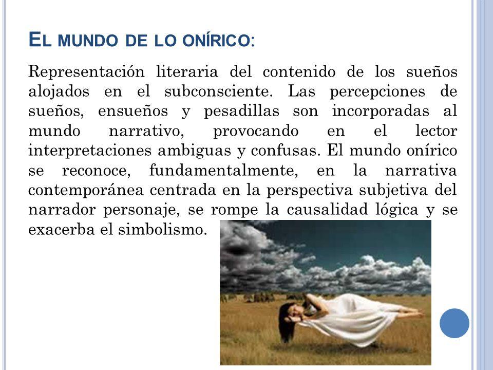 E L MUNDO DE LO ONÍRICO : Representación literaria del contenido de los sueños alojados en el subconsciente. Las percepciones de sueños, ensueños y pe