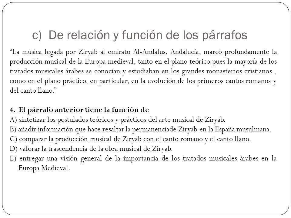 c) De relación y función de los párrafos La música legada por Ziryab al emirato Al-Andalus, Andalucía, marcó profundamente la producción musical de la