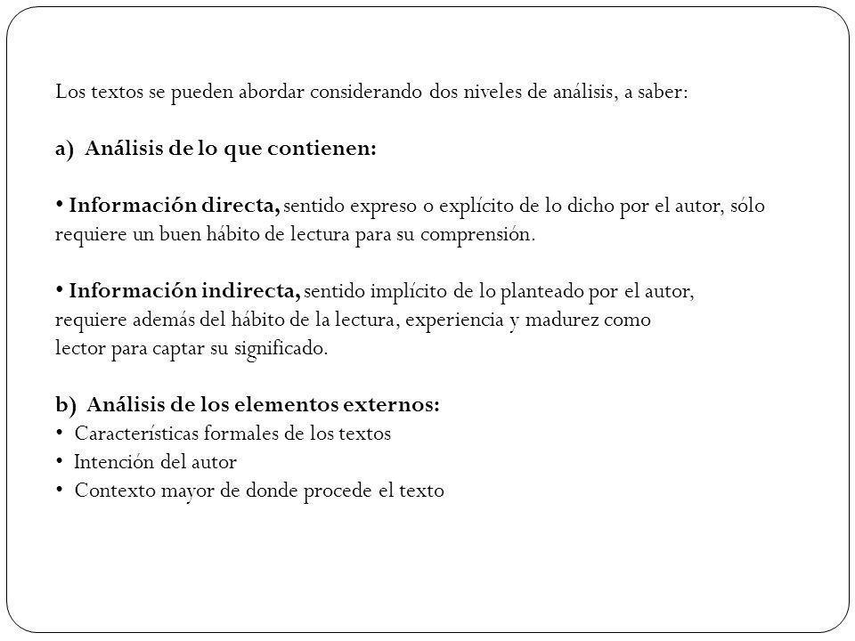 Los textos se pueden abordar considerando dos niveles de análisis, a saber: a) Análisis de lo que contienen: Información directa, sentido expreso o ex