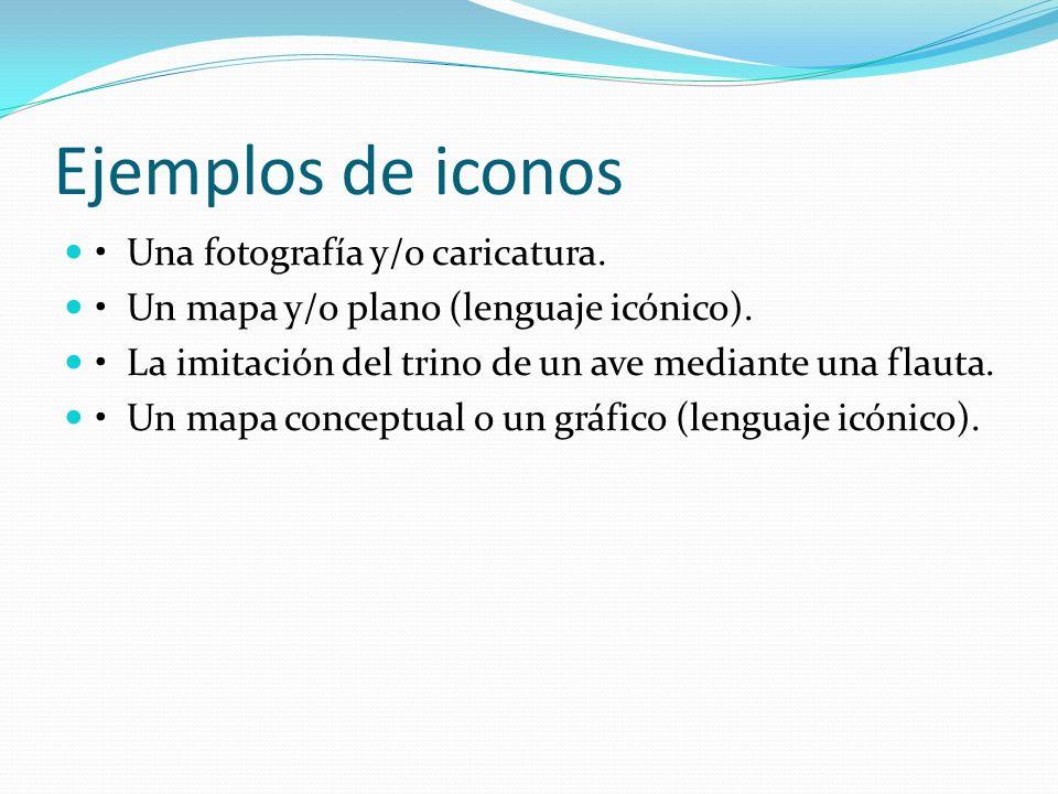 Ejemplos de iconos Una fotografía y/o caricatura. Un mapa y/o plano (lenguaje icónico). La imitación del trino de un ave mediante una flauta. Un mapa