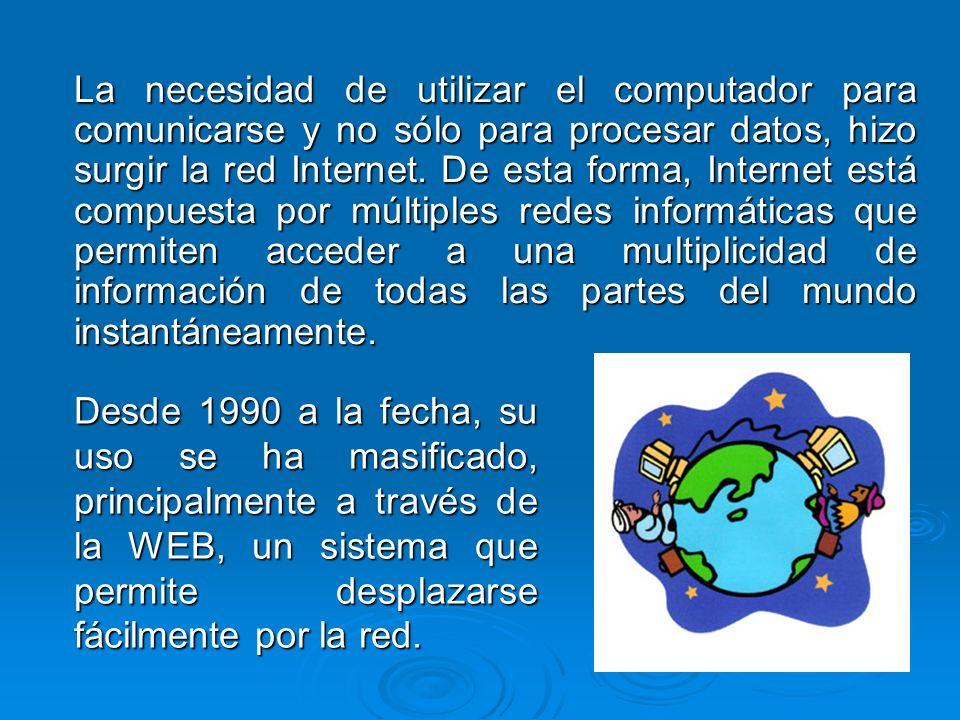 La necesidad de utilizar el computador para comunicarse y no sólo para procesar datos, hizo surgir la red Internet. De esta forma, Internet está compu