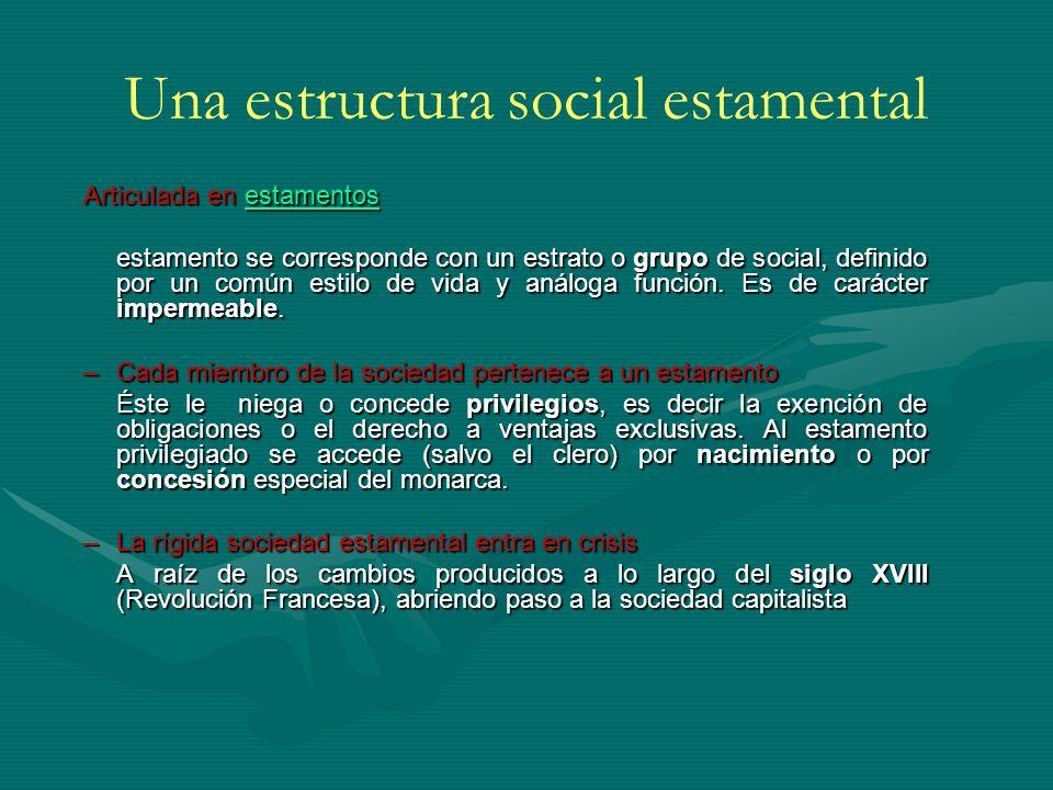 Una estructura social estamental Articulada en estamentos estamentos estamento se corresponde con un estrato o grupo de social, definido por un común