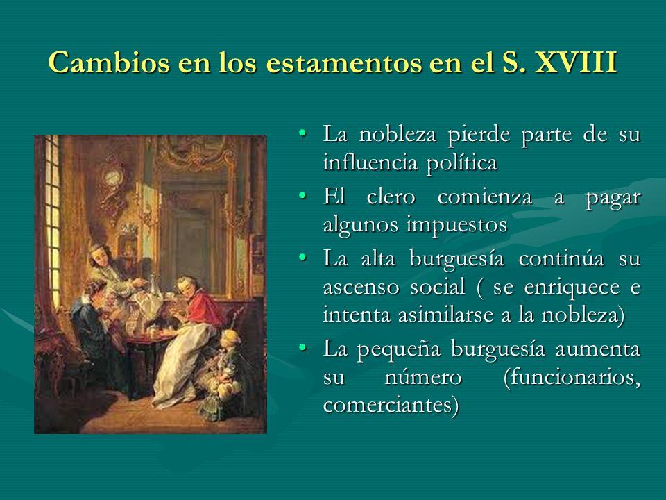 Cambios en los estamentos en el S. XVIII La nobleza pierde parte de su influencia políticaLa nobleza pierde parte de su influencia política El clero c