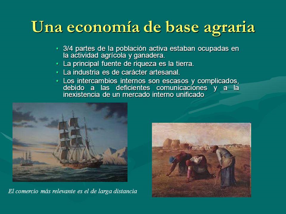 Una economía de base agraria 3/4 partes de la población activa estaban ocupadas en la actividad agrícola y ganadera.3/4 partes de la población activa