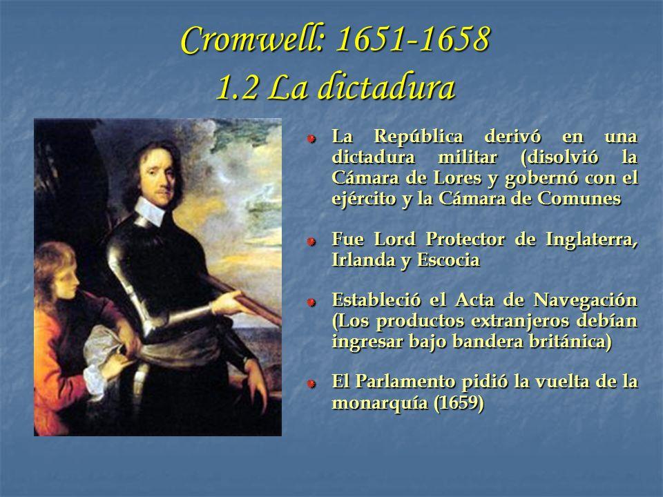 1.3 Restauración de la monarquía: Carlos II y Jacobo II Restauró la relación con el Parlamento Se convirtió al catolicismo en su lecho de muerte Carlos II (1660-1685) Se convirtió públicamente al catolicismo Se casó con María de Módena (católica) El 10 de junio de 1688 tuvo un heredero católico Fue el último monarca de los Estuardo Jacobo II (1685-1688)