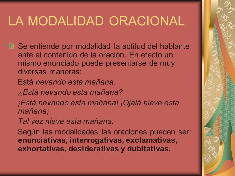 LA MODALIDAD ORACIONAL Se entiende por modalidad la actitud del hablante ante el contenido de la oración. En efecto un mismo enunciado puede presentar