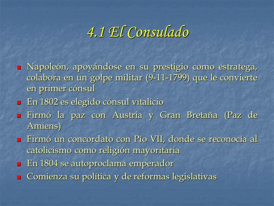 4.1 El Consulado Napoleón, apoyándose en su prestigio como estratega, colabora en un golpe militar (9-11-1799) que le convierte en primer cónsul Napol