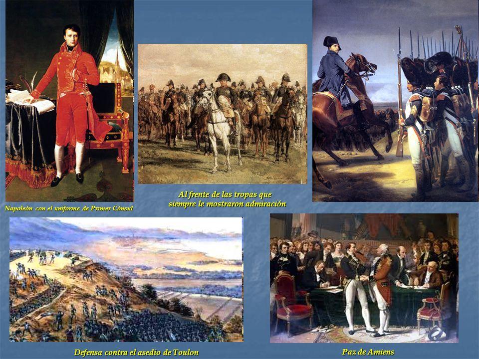 Napoleón con el uniforme de Primer Cónsul Defensa contra el asedio de Toulon Al frente de las tropas que siempre le mostraron admiración Al frente de