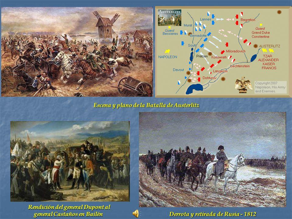 Escena y plano de la Batalla de Austerlitz Derrota y retirada de Rusia - 1812 Rendición del general Dupont al general Castaños en Bailén general Casta