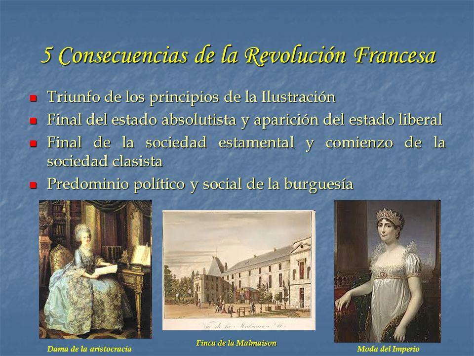 5 Consecuencias de la Revolución Francesa Triunfo de los principios de la Ilustración Triunfo de los principios de la Ilustración Final del estado abs