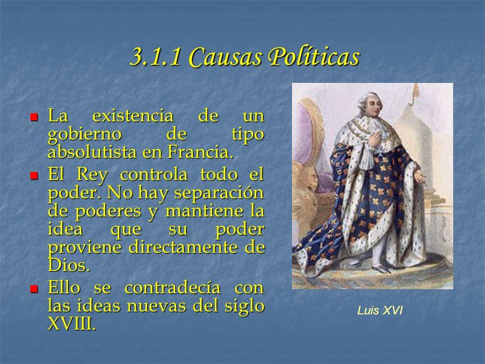 3.1.1 Causas Políticas La existencia de un gobierno de tipo absolutista en Francia. La existencia de un gobierno de tipo absolutista en Francia. El Re
