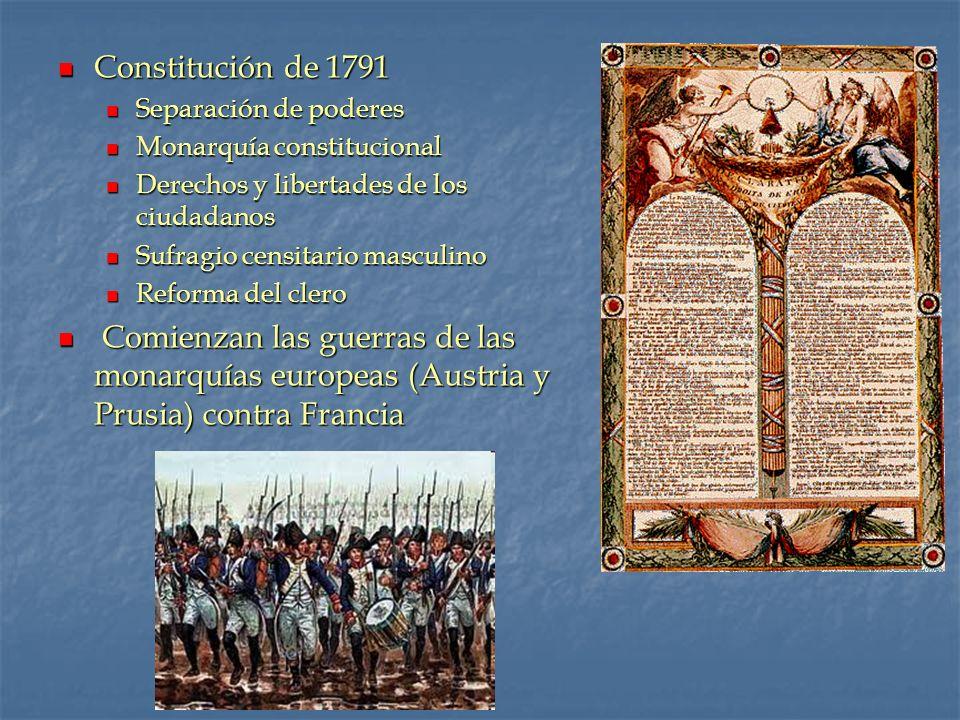 Constitución de 1791 Constitución de 1791 Separación de poderes Separación de poderes Monarquía constitucional Monarquía constitucional Derechos y lib