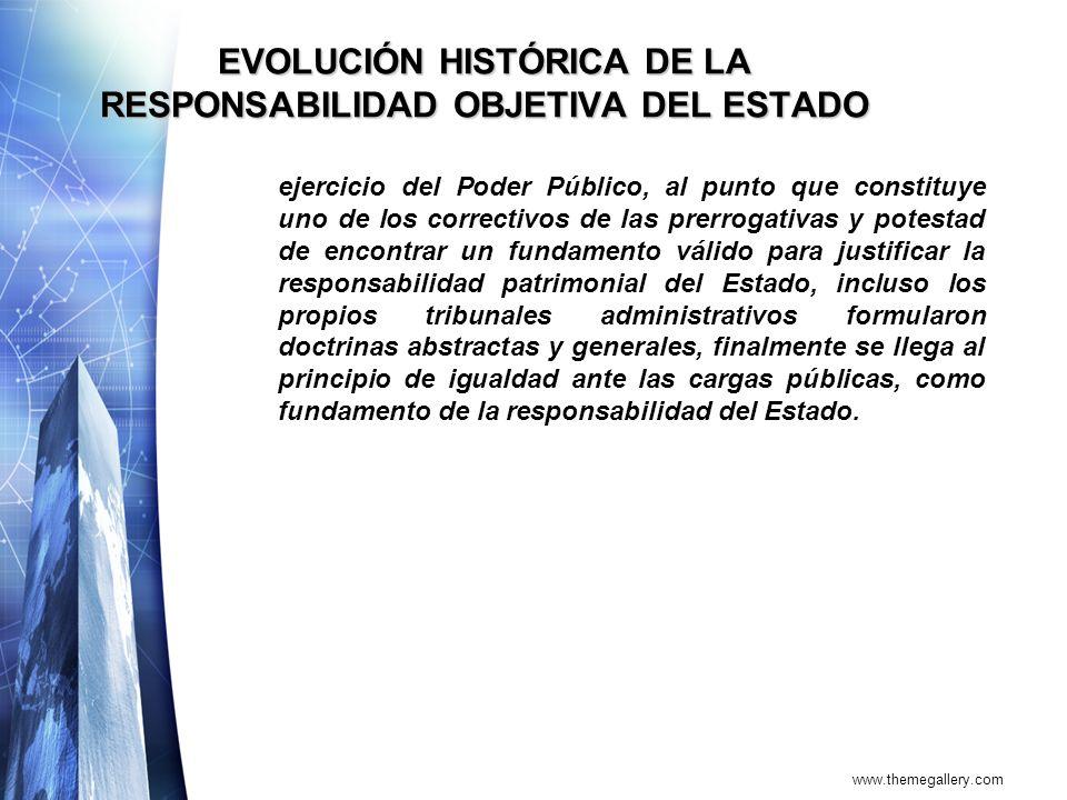 www.themegallery.com EVOLUCIÓN HISTÓRICA DE LA RESPONSABILIDAD OBJETIVA DEL ESTADO ejercicio del Poder Público, al punto que constituye uno de los cor