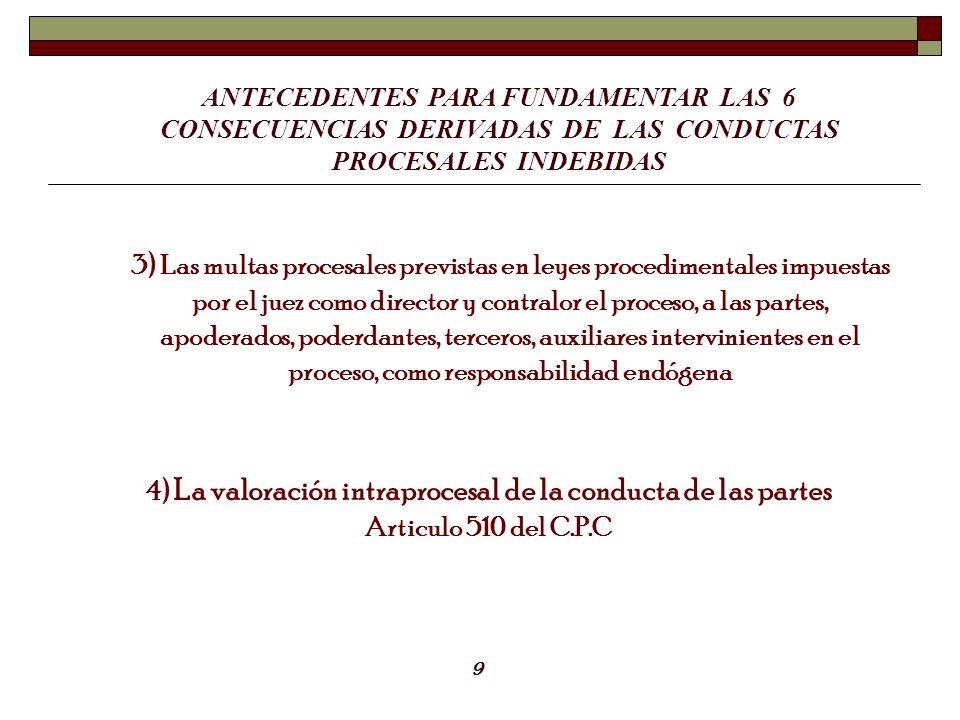 3) Las multas procesales previstas en leyes procedimentales impuestas por el juez como director y contralor el proceso, a las partes, apoderados, pode