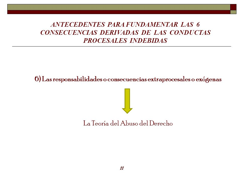 ANTECEDENTES PARA FUNDAMENTAR LAS 6 CONSECUENCIAS DERIVADAS DE LAS CONDUCTAS PROCESALES INDEBIDAS 6) Las responsabilidades o consecuencias extraproces