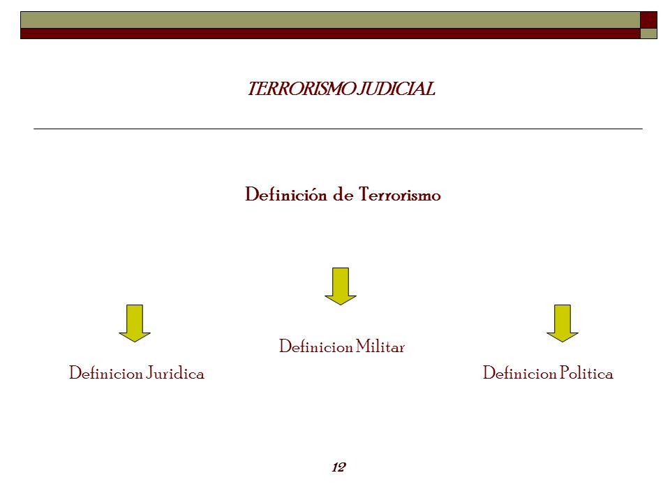 TERRORISMO JUDICIAL Definición de Terrorismo Definicion Juridica Definicion Militar Definicion Politica 12