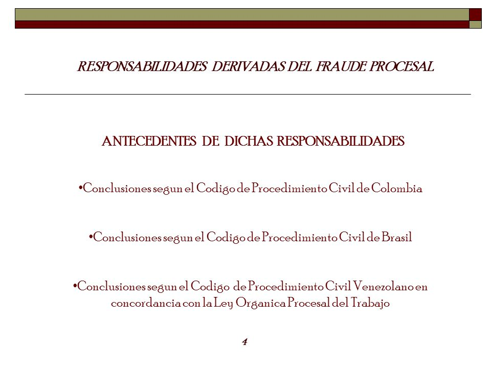 RESPONSABILIDADES DERIVADAS DEL FRAUDE PROCESAL ANTECEDENTES DE DICHAS RESPONSABILIDADES Conclusiones segun el Codigo de Procedimiento Civil de Colomb