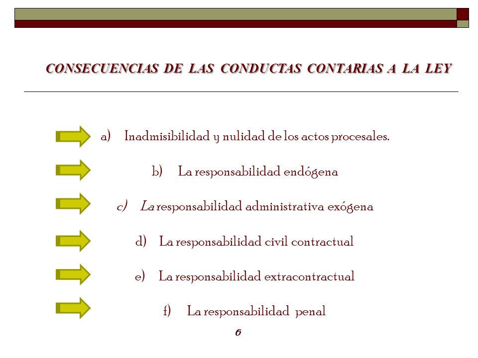 CONSECUENCIAS DE LAS CONDUCTAS CONTARIAS A LA LEY a)Inadmisibilidad y nulidad de los actos procesales. b) La responsabilidad endógena c)La responsabil