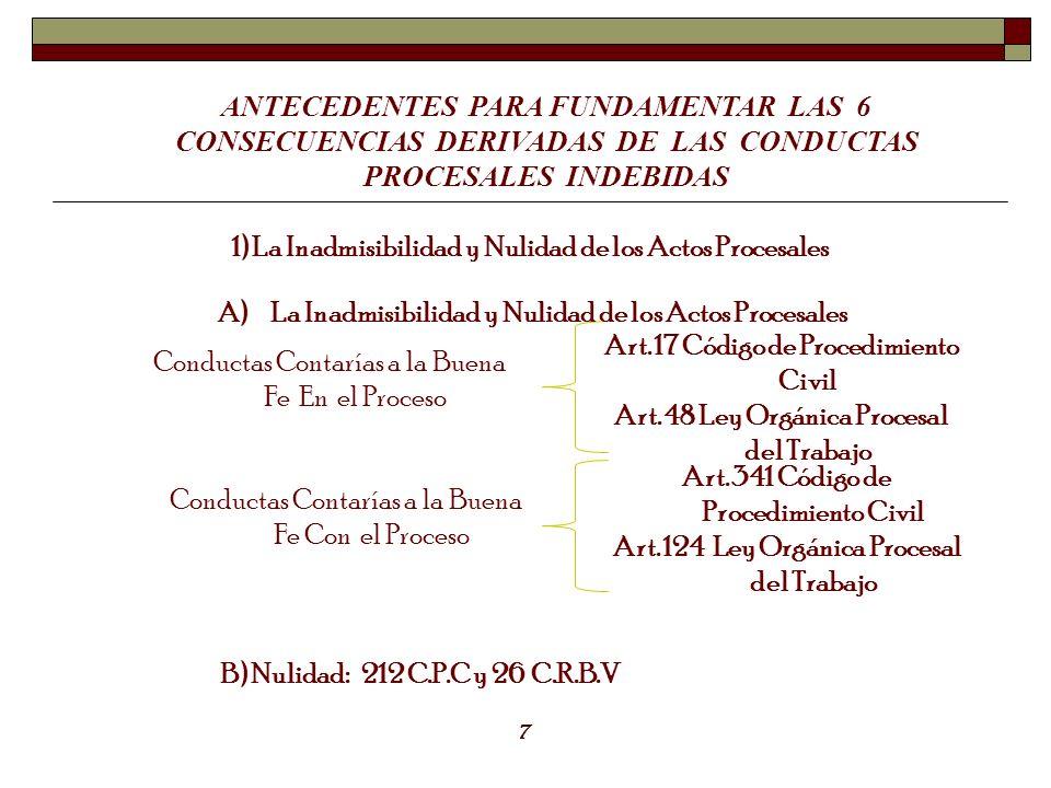 ANTECEDENTES PARA FUNDAMENTAR LAS 6 CONSECUENCIAS DERIVADAS DE LAS CONDUCTAS PROCESALES INDEBIDAS 1) La Inadmisibilidad y Nulidad de los Actos Procesa
