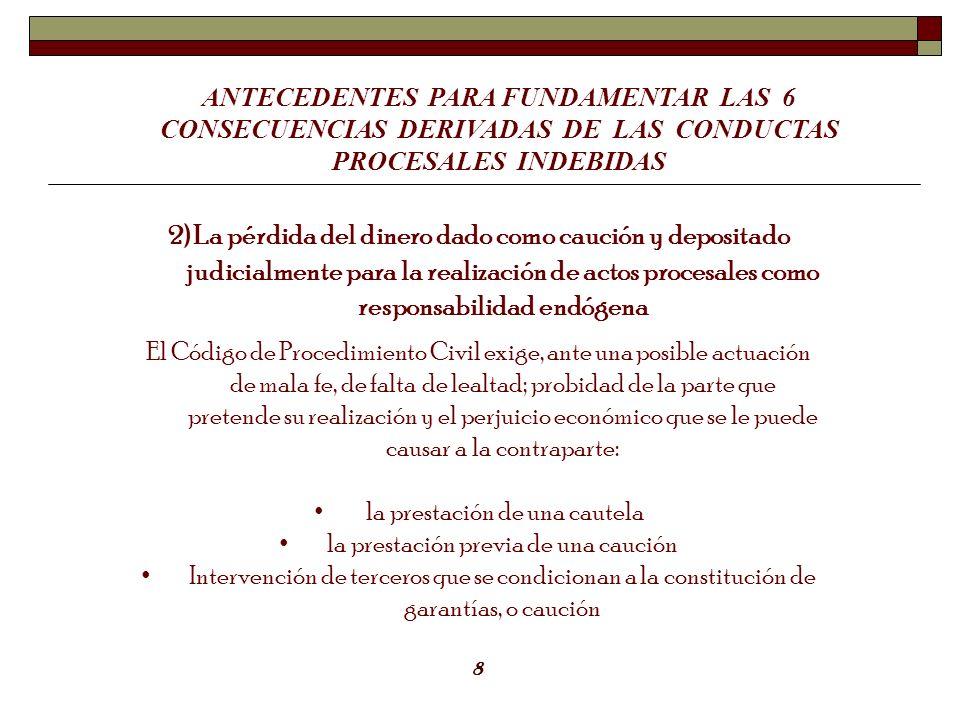 ANTECEDENTES PARA FUNDAMENTAR LAS 6 CONSECUENCIAS DERIVADAS DE LAS CONDUCTAS PROCESALES INDEBIDAS 2) La pérdida del dinero dado como caución y deposit
