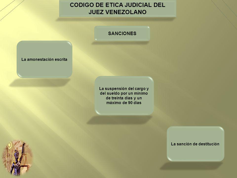 CODIGO DE ETICA JUDICIAL DEL JUEZ VENEZOLANO SANCIONES La amonestación escrita La suspensión del cargo y del sueldo por un mínimo de treinta días y un