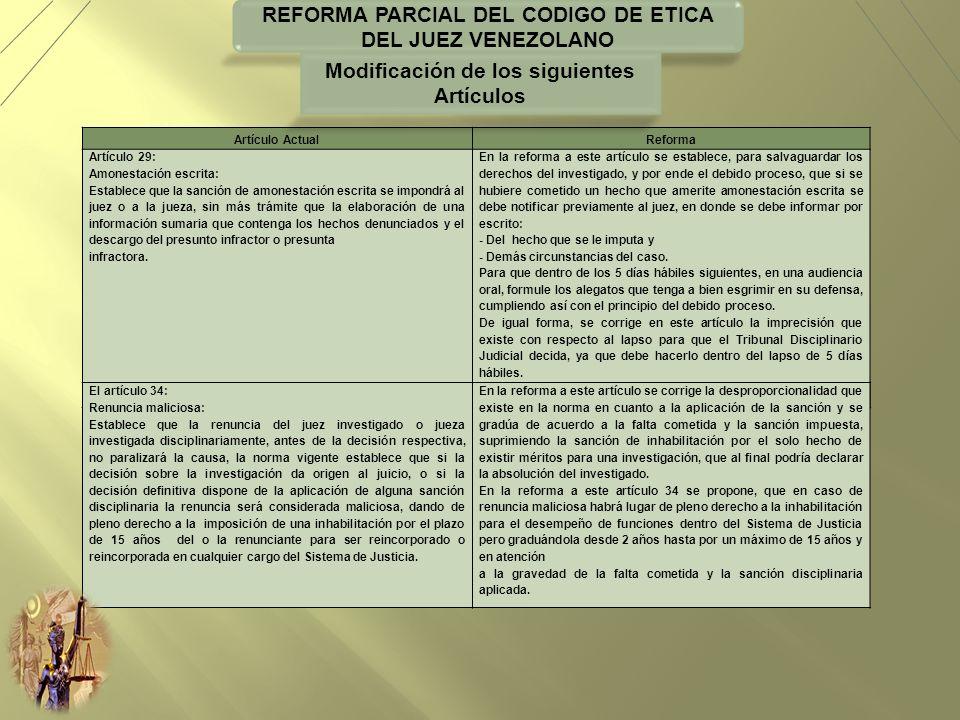 REFORMA PARCIAL DEL CODIGO DE ETICA DEL JUEZ VENEZOLANO Artículo ActualReforma Artículo 29: Amonestación escrita: Establece que la sanción de amonesta
