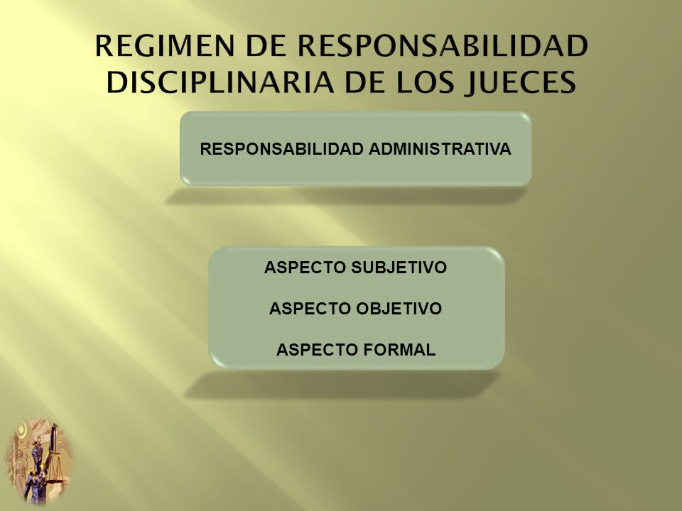 RESPONSABILIDAD ADMINISTRATIVA ASPECTO SUBJETIVO ASPECTO OBJETIVO ASPECTO FORMAL