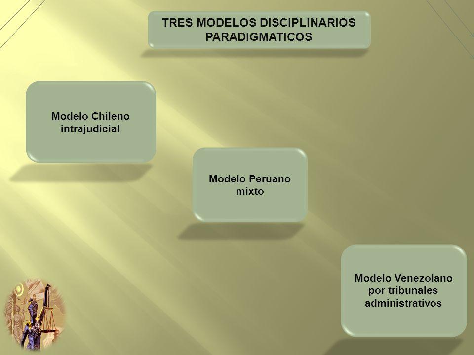 TRES MODELOS DISCIPLINARIOS PARADIGMATICOS Modelo Chileno intrajudicial Modelo Peruano mixto Modelo Venezolano por tribunales administrativos