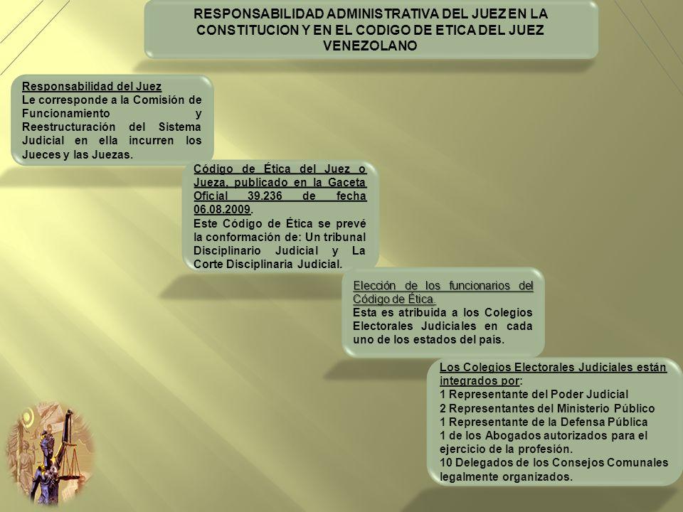 RESPONSABILIDAD ADMINISTRATIVA DEL JUEZ EN LA CONSTITUCION Y EN EL CODIGO DE ETICA DEL JUEZ VENEZOLANO Responsabilidad del Juez Le corresponde a la Co