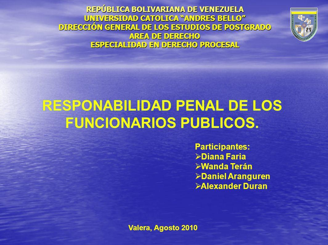 REPÚBLICA BOLIVARIANA DE VENEZUELA UNIVERSIDAD CATOLICA ANDRES BELLO DIRECCIÓN GENERAL DE LOS ESTUDIOS DE POSTGRADO AREA DE DERECHO ESPECIALIDAD EN DE
