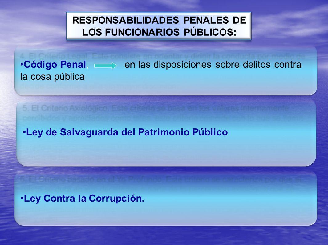 Código Penal, en las disposiciones sobre delitos contra la cosa pública RESPONSABILIDADES PENALES DE LOS FUNCIONARIOS PÚBLICOS: Ley de Salvaguarda del