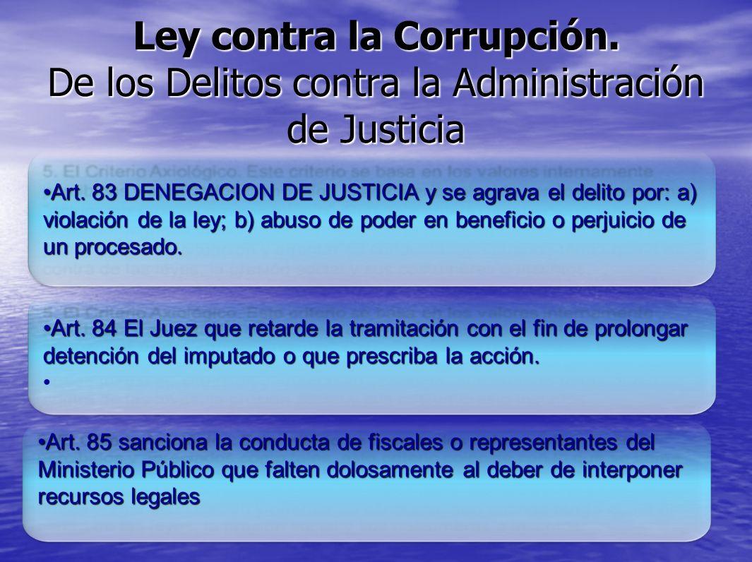 Ley contra la Corrupción. De los Delitos contra la Administración de Justicia Art. 83 DENEGACION DE JUSTICIA y se agrava el delito por: a) violación d