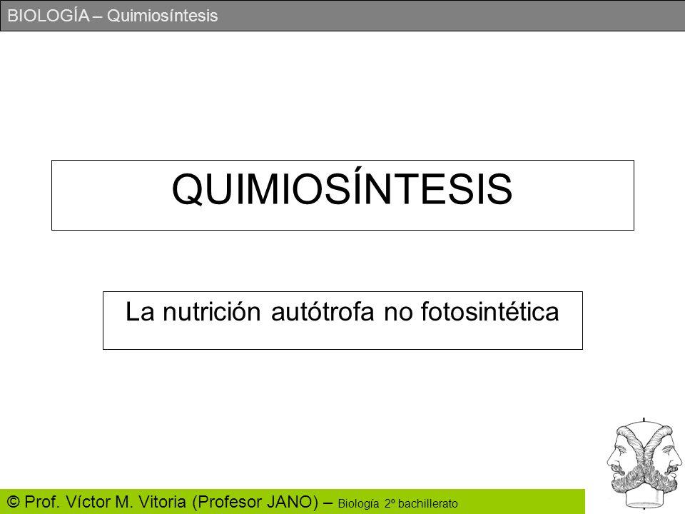 BIOLOGÍA – Quimiosíntesis © Prof. Víctor M. Vitoria (Profesor JANO) – Biología 2º bachillerato QUIMIOSÍNTESIS La nutrición autótrofa no fotosintética