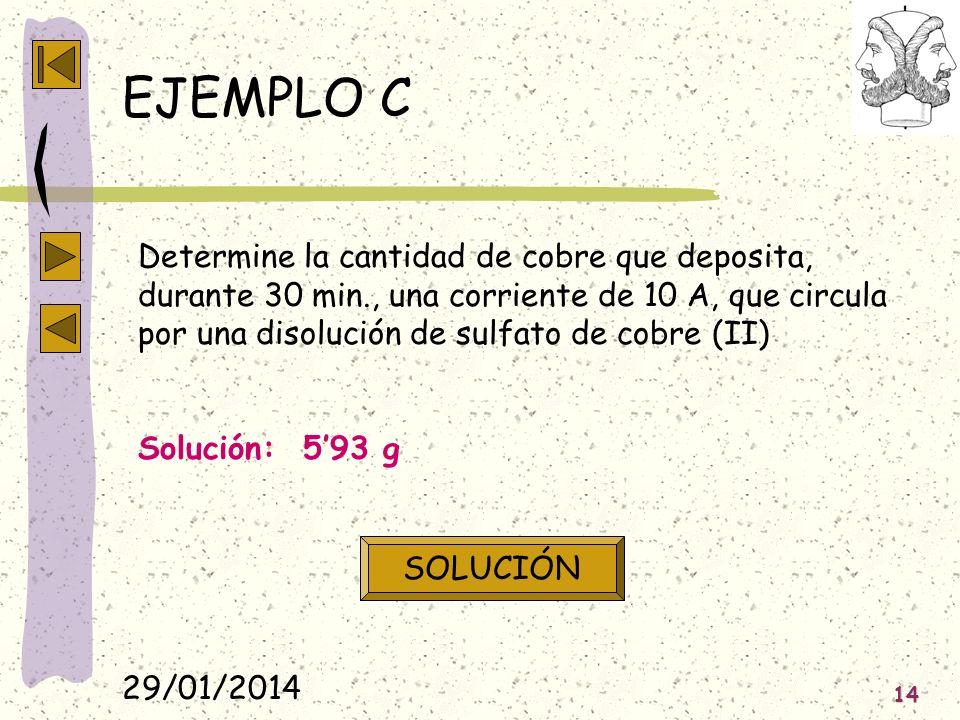 29/01/2014 14 EJEMPLO C Determine la cantidad de cobre que deposita, durante 30 min., una corriente de 10 A, que circula por una disolución de sulfato
