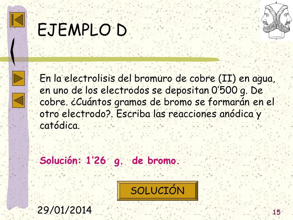 29/01/2014 15 EJEMPLO D En la electrolisis del bromuro de cobre (II) en agua, en uno de los electrodos se depositan 0500 g. De cobre. ¿Cuántos gramos