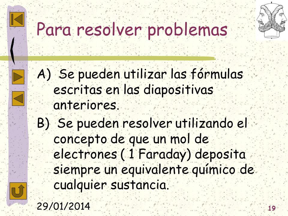 29/01/2014 19 Para resolver problemas A) Se pueden utilizar las fórmulas escritas en las diapositivas anteriores. B) Se pueden resolver utilizando el