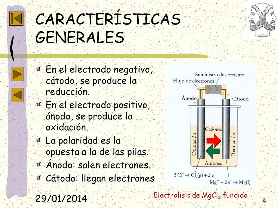 29/01/2014 4 CARACTERÍSTICAS GENERALES En el electrodo negativo, cátodo, se produce la reducción. En el electrodo positivo, ánodo, se produce la oxida