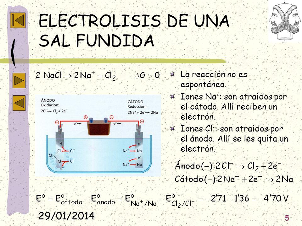 29/01/2014 5 ELECTROLISIS DE UNA SAL FUNDIDA La reacción no es espontánea. Iones Na + : son atraídos por el cátodo. Allí reciben un electrón. Iones Cl