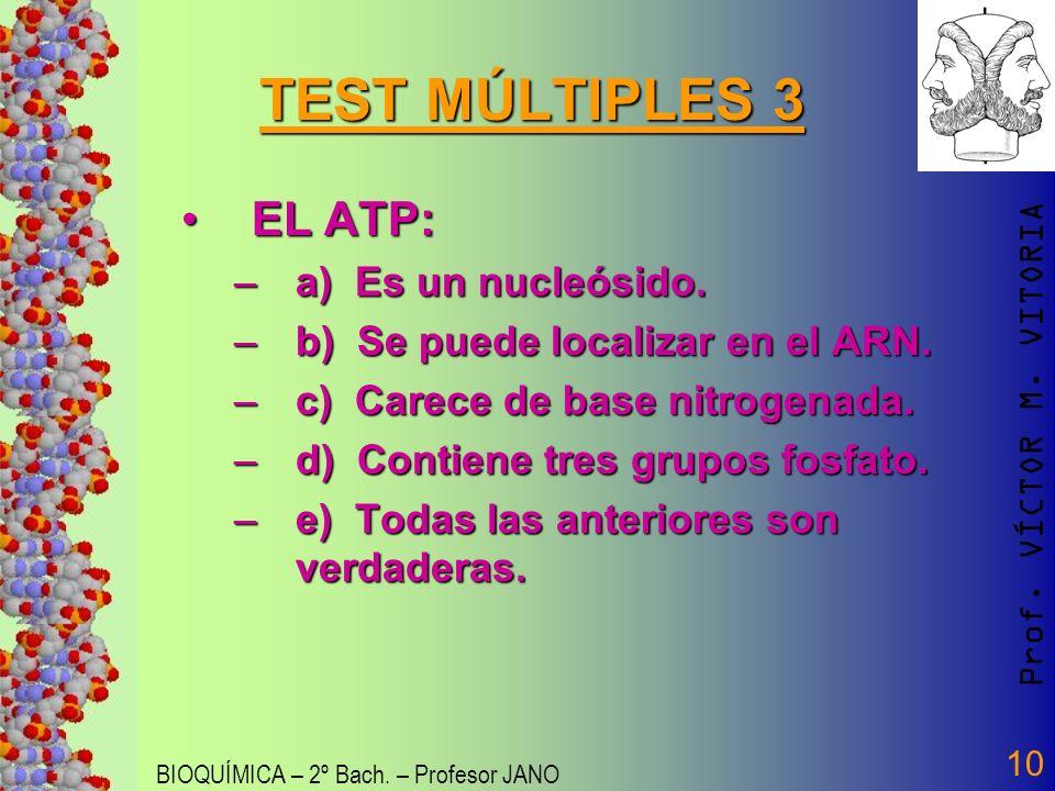 Prof. VÍCTOR M. VITORIA BIOQUÍMICA – 2º Bach. – Profesor JANO 10 TEST MÚLTIPLES 3 EL ATP:EL ATP: –a) Es un nucleósido. –b) Se puede localizar en el AR