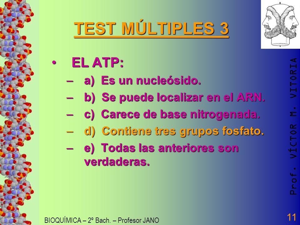 Prof. VÍCTOR M. VITORIA BIOQUÍMICA – 2º Bach. – Profesor JANO 11 TEST MÚLTIPLES 3 EL ATP:EL ATP: –a) Es un nucleósido. –b) Se puede localizar en el AR