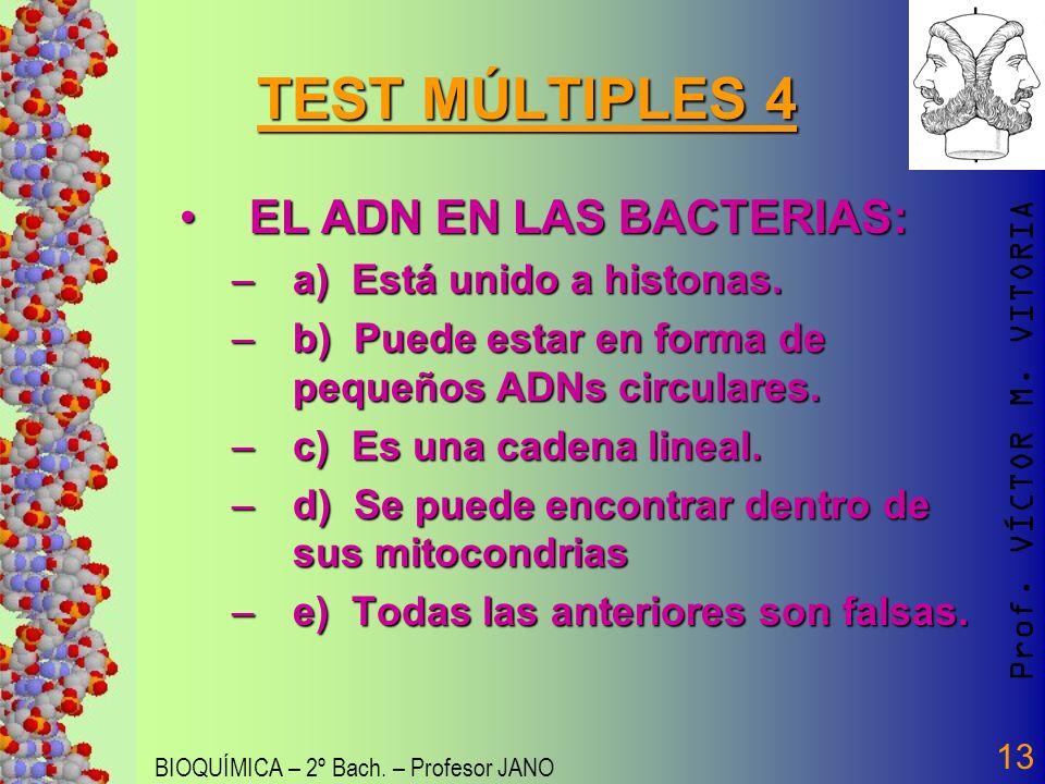 Prof. VÍCTOR M. VITORIA BIOQUÍMICA – 2º Bach. – Profesor JANO 13 TEST MÚLTIPLES 4 EL ADN EN LAS BACTERIAS:EL ADN EN LAS BACTERIAS: –a) Está unido a hi