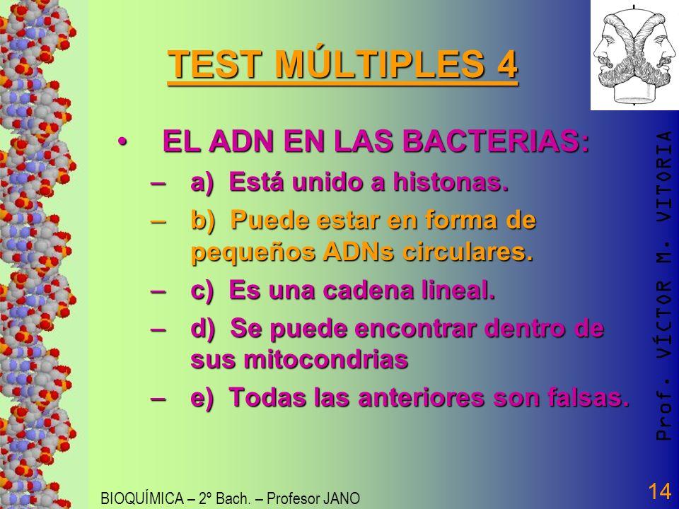 Prof. VÍCTOR M. VITORIA BIOQUÍMICA – 2º Bach. – Profesor JANO 14 TEST MÚLTIPLES 4 EL ADN EN LAS BACTERIAS:EL ADN EN LAS BACTERIAS: –a) Está unido a hi