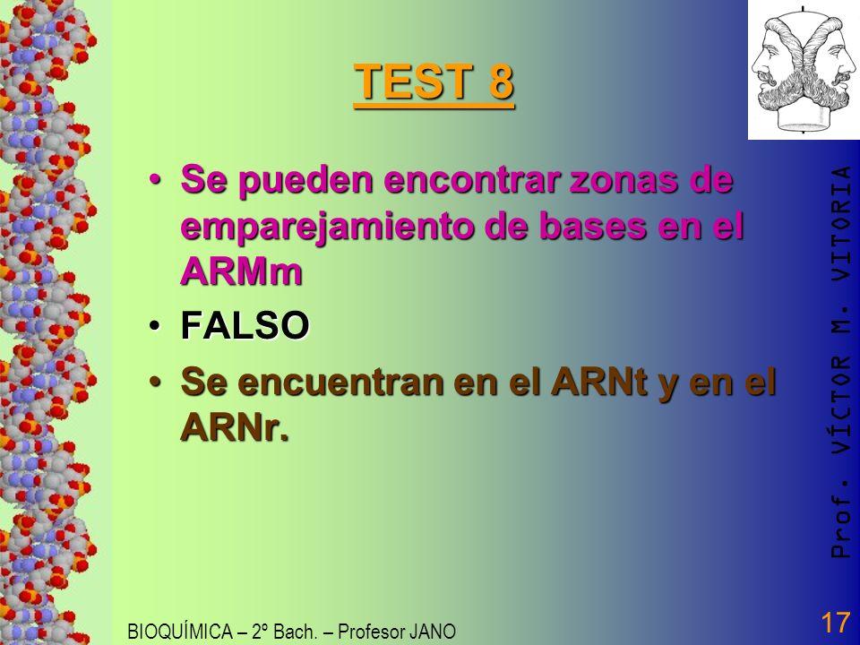 Prof. VÍCTOR M. VITORIA BIOQUÍMICA – 2º Bach. – Profesor JANO 17 TEST 8 Se pueden encontrar zonas de emparejamiento de bases en el ARMmSe pueden encon