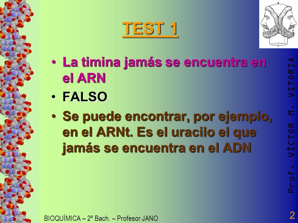 Prof. VÍCTOR M. VITORIA BIOQUÍMICA – 2º Bach. – Profesor JANO 2 TEST 1 La timina jamás se encuentra en el ARNLa timina jamás se encuentra en el ARN FA